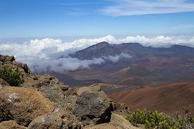 Landscape With Haleakala Volcano Or East Maui Volcano.  Maui, Hawaii.