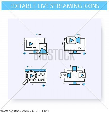 Live Streaming Line Icons Set. Online Video Stream. Blogging And Broadcasting Technologies. Internet