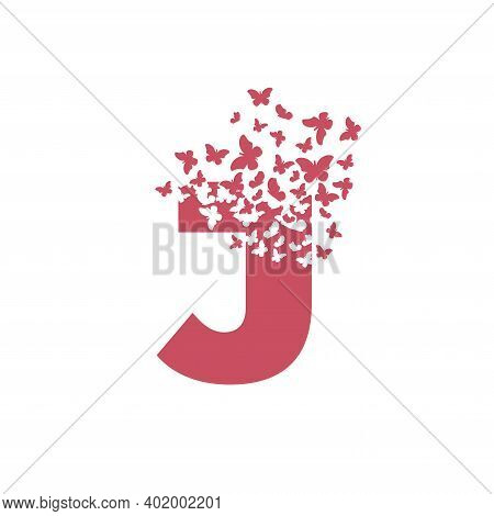 The Letter J Dispersing Into A Cloud Of Butterflies And Moths.