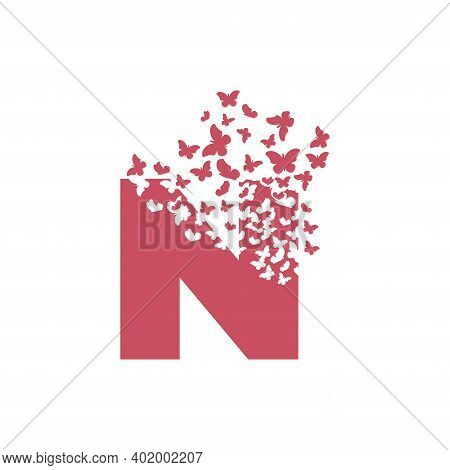 The Letter N Dispersing Into A Cloud Of Butterflies And Moths.
