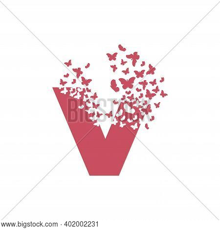 The Letter V Dispersing Into A Cloud Of Butterflies And Moths.