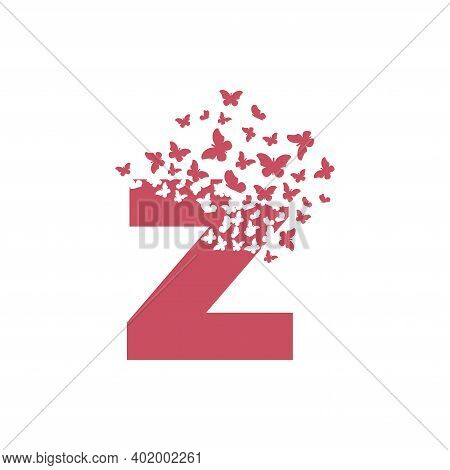 The Letter Z Dispersing Into A Cloud Of Butterflies And Moths.