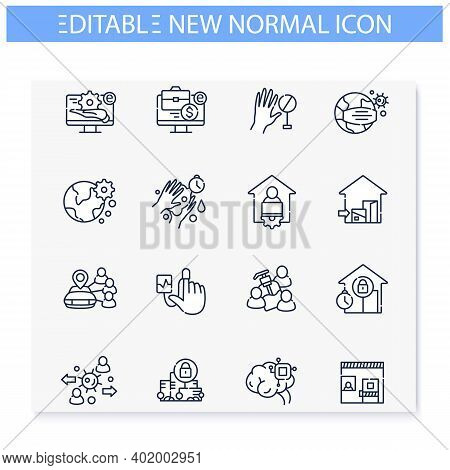 New Normal Concept Line Icons Set. Health Care And Prevention Culture. Social Isolation And Global A