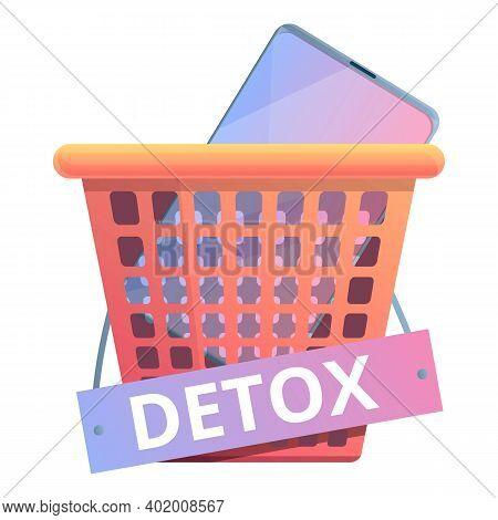 Digital Detoxing Basket Icon. Cartoon Of Digital Detoxing Basket Vector Icon For Web Design Isolated