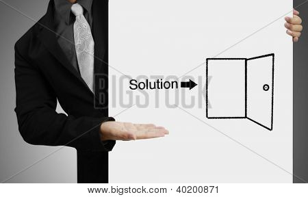 Business people standing with on boards ,drawing Solution