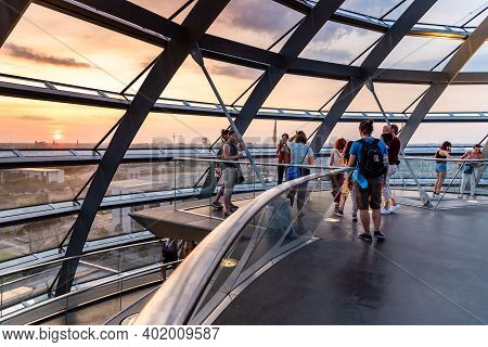 Berlin, Germany - July 28, 2019: Interior View Of The Helicoidal Ramp Under The Dome Of Reichstag Bu