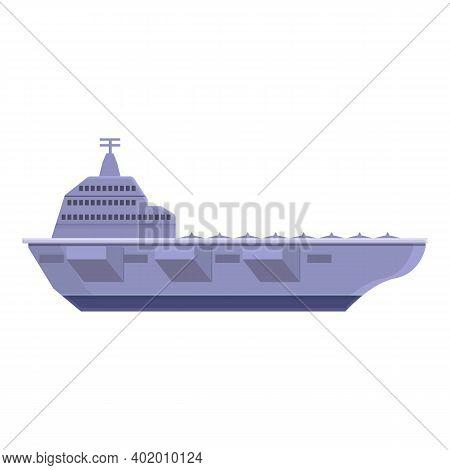 Aircraft Carrier Ariplane Icon. Cartoon Of Aircraft Carrier Ariplane Vector Icon For Web Design Isol