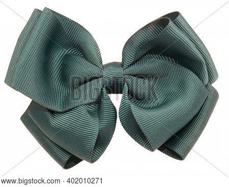 Hair bow tie dark green modern isolated on white background