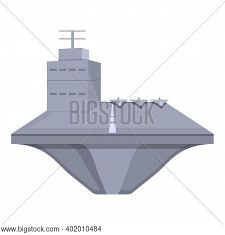 Aircraft Carrier Power Icon. Cartoon Of Aircraft Carrier Power Vector Icon For Web Design Isolated O