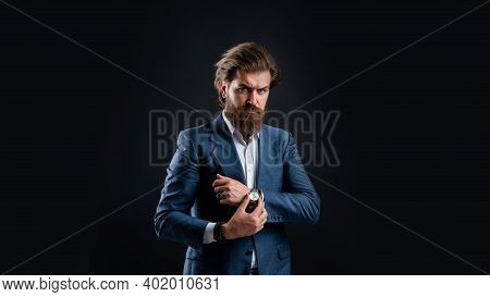 Man Bearded Hipster Modern Outfit For Business Life, Punctuality Concept