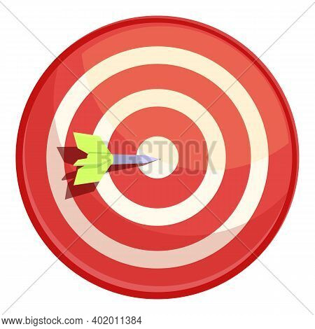 Darts Target Icon. Cartoon Of Darts Target Vector Icon For Web Design Isolated On White Background