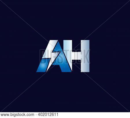 Ah Alphabet Electric Logo Design Company Concept