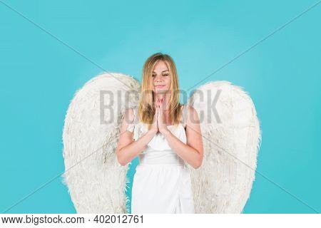 Angel Girl. Valentines Day. Angel Praying. Valentines Day Cupid. Angel Woman. Cupid Girl In Valentin