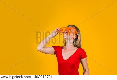 Advertising. Woman Looking At Something. Finger Away. Look Over Here. Add. Sales And Discount. Seaso
