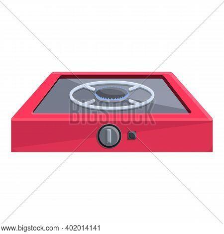 Burning Gas Stove Equipment Icon. Cartoon Of Burning Gas Stove Equipment Vector Icon For Web Design