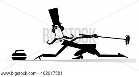 Mustache Man In The Top Hat Plays Curling Isolated Illustration. Mustache Gentleman In The Top Hat W
