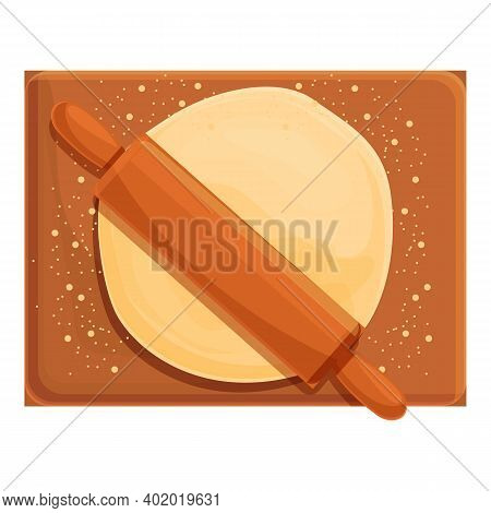 Dough Cooking Board Icon. Cartoon Of Dough Cooking Board Vector Icon For Web Design Isolated On Whit
