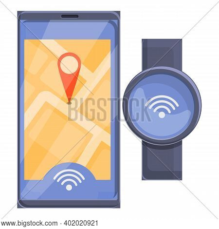 Phone Gps Location Smartwatch Icon. Cartoon Of Phone Gps Location Smartwatch Vector Icon For Web Des