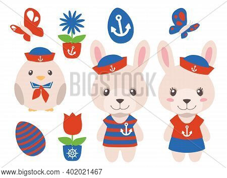 Cartoon Maritime Easter Graphic Vector Collection With Male And Female Bunny And Chic In Nautical Re
