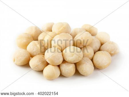 Macadamia nuts isolated on a white background