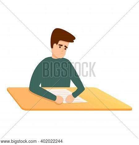 Confused Boy School Test Icon. Cartoon Of Confused Boy School Test Vector Icon For Web Design Isolat