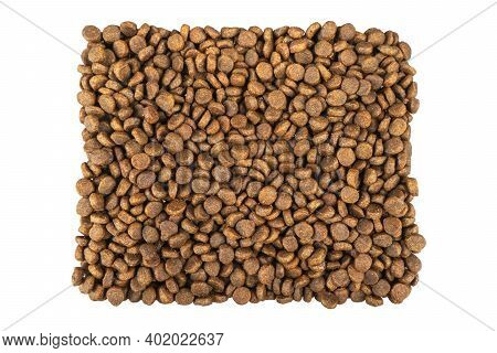 Dry Pet Food Isolated On White Background Food For Cats And Dogs Isolated. Pile Of Granulated Animal