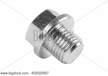 Macro Shot Metal Bolt Isolated On White Background. Chromed Screw Bolt Isolated. Steel Bolt Isolated