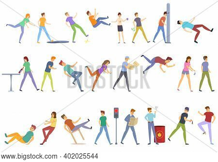 Careless Person Icons Set. Cartoon Set Of Careless Person Vector Icons For Web Design