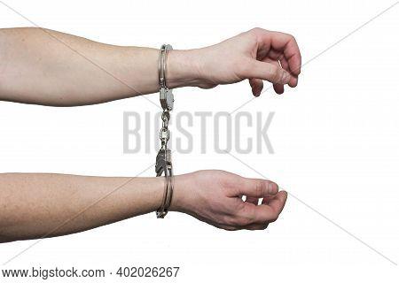 Hands In Handcuffs.  Prisoner Or Arrested Man , Close-up Of Hands In Handcuffs. Male Hands In Handcu
