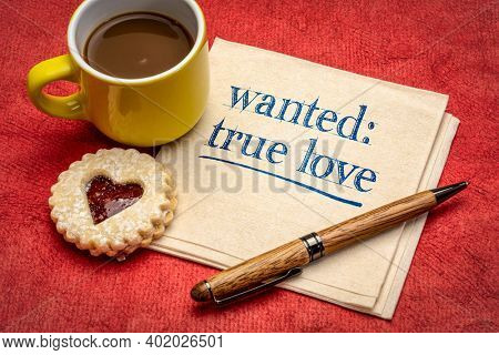 wanted true love - romance and Valentine's Day concept, handwriting on a napkin with coffee and heart biscuit