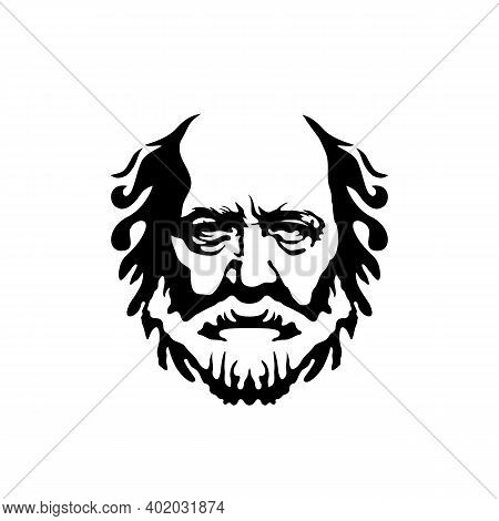 Vintage Hipster Greek Philosopher Old Man, Hairstyle Bald, Beard And Mustache Logo Design