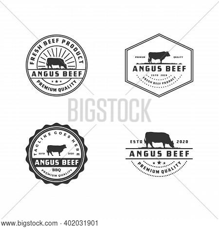 Vintage Cattle Angus Beef Meat Label Logo Design Pack