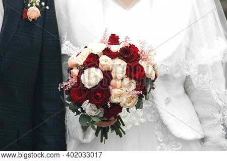 Bride And Groom Together Close Up. Bride With A Wedding Bouquet. Wedding