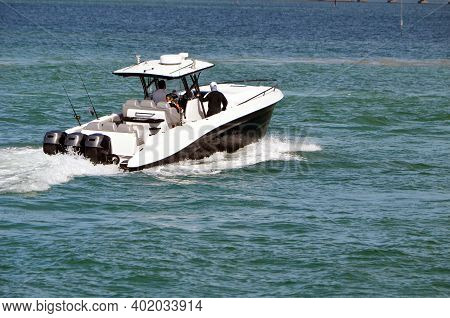 Fishing Boat Powered By Three Outboard Engines