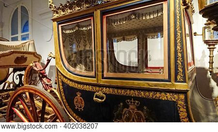 Munich, Bavaria, Germany - August 30, 2018: Carriages And Their Elements In The Nymphenburg Palace C