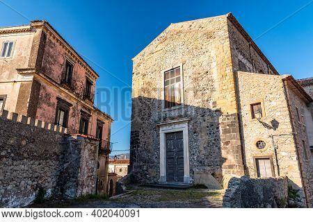 Facade Of Saint Peter Church In Castiglione Di Sicilia, Italy