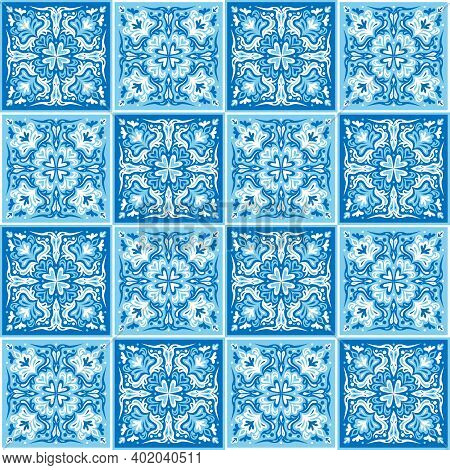 Seamless Ornamental Tile Background. Blue And White Colors On Tiles Mosaic. Ceramic Tiles