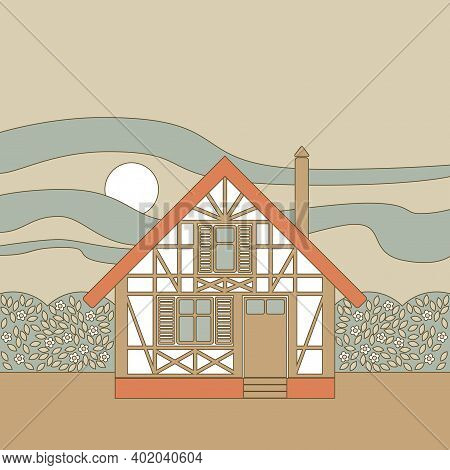 Vector Image Of A Framework Half-timbered House With Flowering Bushes Around, Against The Sunset Sky