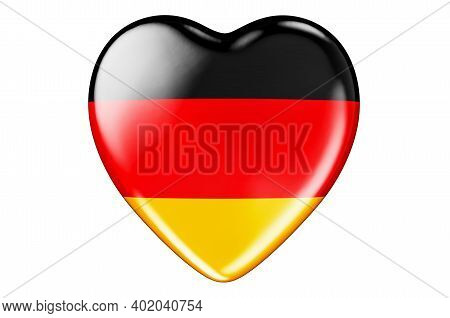 Heart With German Flag, 3d Rendering Isolated On White Background