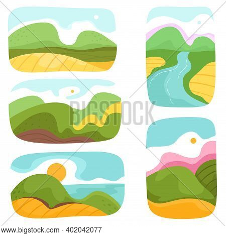 A Set Of Various Abstract Landscapes. Mountains, Hills, Rivers, Landscapes, Backgrounds. Cutout Styl