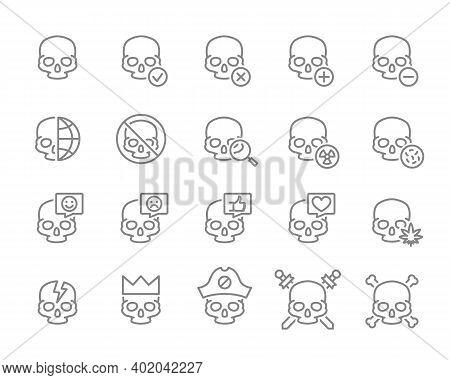 Set Of Human Skulls Line Icon. Healthy Cranium, Treatment And More.