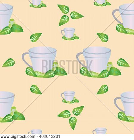 Seamless Pattern Of Mug For Tea With Mint Leaves. Vector Illustration Isolated On A Beige Background