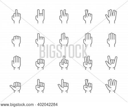 Set Of Hand Gestures Line Icon. Fig, Fuck, Victory, Fist, Vulcan Salute And More.
