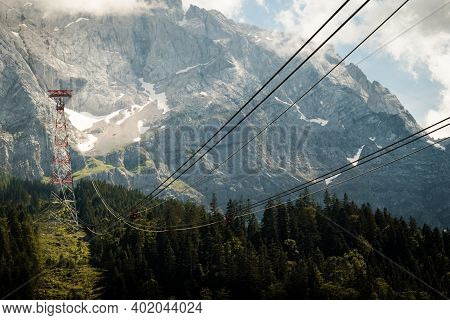 Chairlift In The Mountains Zugspitze Germany Summer