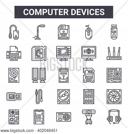 Computer Devices Outline Icon Set. Includes Thin Line Icons Such As Monitor, Printing, Sd Card, Serv