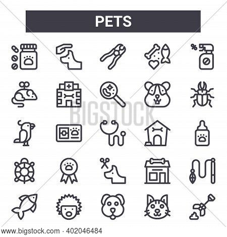 Pets Outline Icon Set. Includes Thin Line Icons Such As Medicine, Cat Toy, Dog House, Pet Shop, Cat,