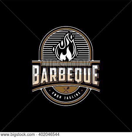 Vintage Barbeque, Barbeque Label Stamp Logo Design Vector