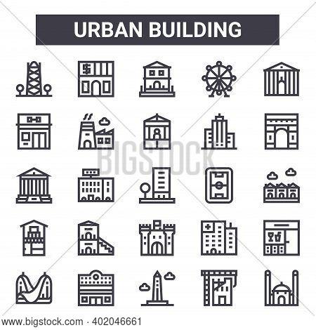 Urban Building Outline Icon Set. Includes Thin Line Icons Such As Antenna, Gym, Stadium, Hospital, U