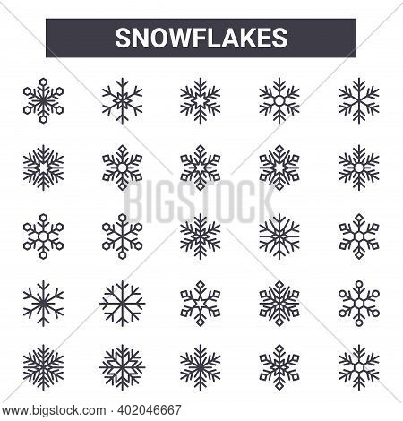 Snowflakes Outline Icon Set. Includes Thin Line Icons Such As Snowflake, Snowflake, Snowflake, Can B