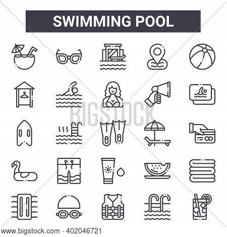 Swimming Pool Outline Icon Set. Includes Thin Line Icons Such As Coconut Drink, Dressing Room, Sunbe